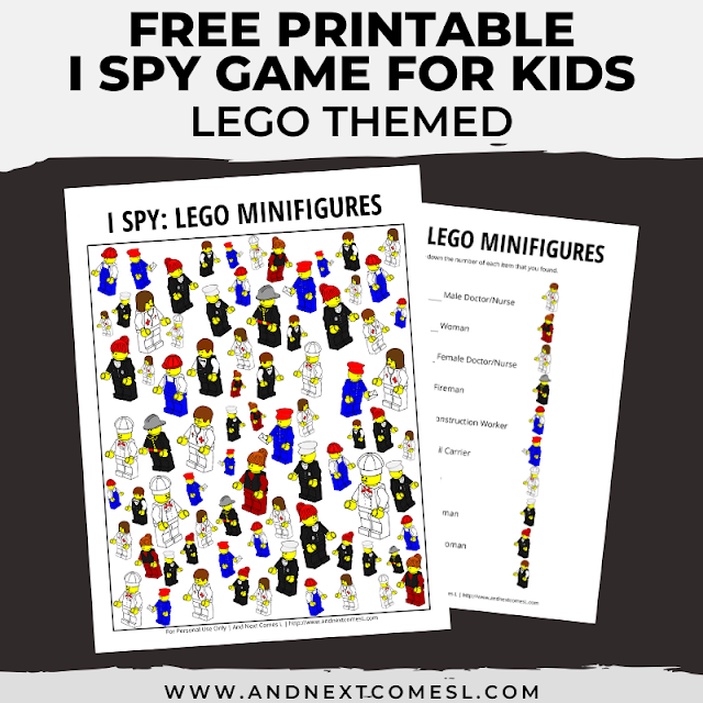 Free I spy game printable for kids: LEGO themed