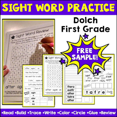 Cover Image of Dolch First Grade Sight Words Practice and Review Free Resource