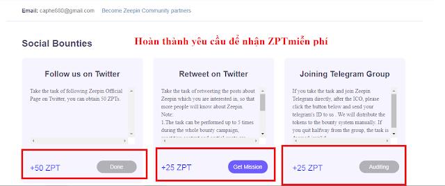 Dự án đầu tư Zeepin - Miễn phí 100 ZPT (50$)
