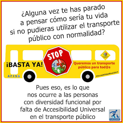 Cartel de queja por la no accesibilidad a los transportes públicos por parte de las personas con problemas de movilidad