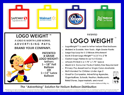 Logo Weights are Custom Balloon Weights and Balloon Accessories for tethering Helium Filled Balloons, Custom Logo Balloons, Imprinted Balloons, Advertising Balloons