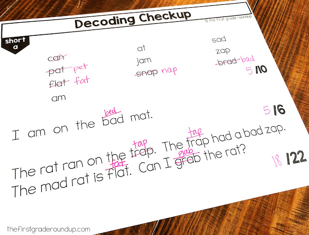 The teacher has recorded the accuracy and errors on the decodable text assessment.