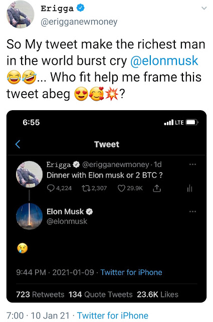 Elon Musk reacts as Man asks fans to choose between dinner with Musk and 2 Bitcoins