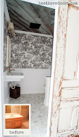 French Country Farmhouse Style Bathroom Renovation with Barnboard ceiling and sliding door - TAKE A LOOK!!