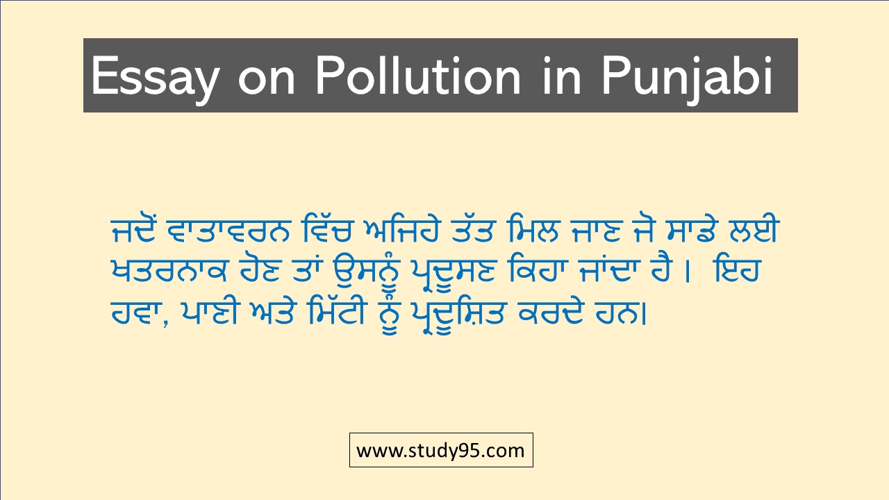 Pollution Essay in Punjabi