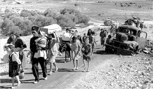 Arab refugees in northern Israel on the road to Lebanon, November 1948