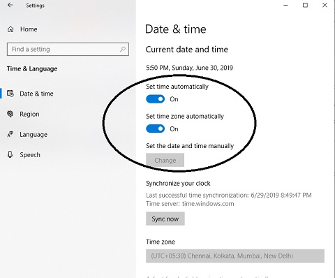 windows date and time setting
