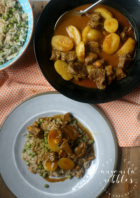Beef Massaman Curry served over vegan Peas Pilau Rice