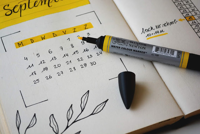 Calendar with a yellow highlighter