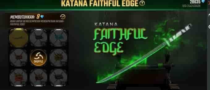 Katana Faithful Edge Free Fire Hadir di Event BullsEye Terbaru