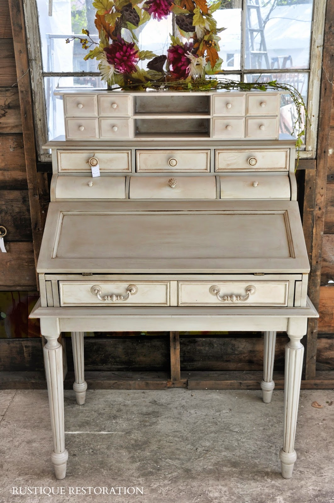 Rustique Restoration French Gray And Cream Secretary