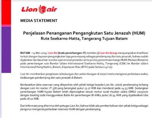 Perbedaan waktu kedatangan pendamping dan satu jenazah di Batam, ini Penjelasan Lion Air ishabripedia.us