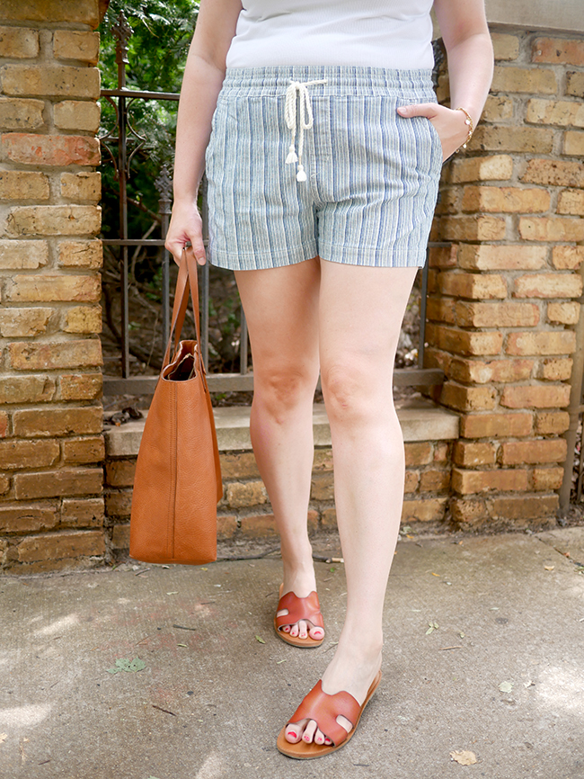 summer shorts, bag, sandals