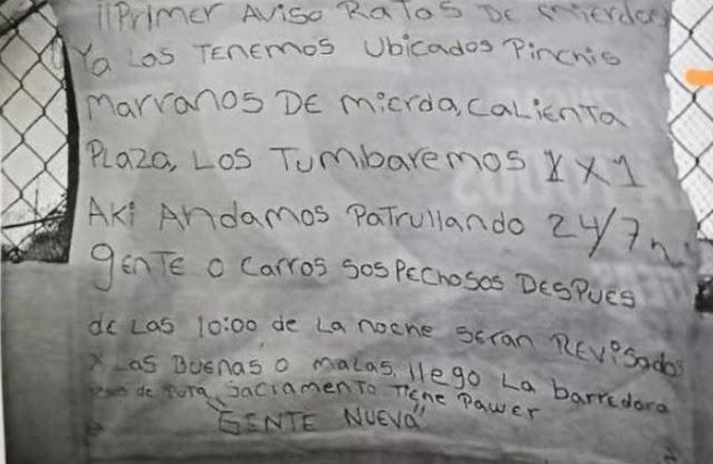 """""""La Gente Nueva"""" reaparece en Chihuahua y deja narcomensaje """"Primer aviso ya los tenemos ubicados"""" ATT: G.N"""