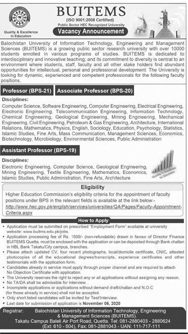 Bolan University of Medical & Health Sciences BUMHS Jobs Advertisement in Pakistan Jobs 2021