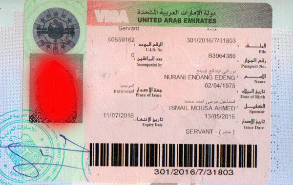contoh visa sudah stemp di kedutaan uae