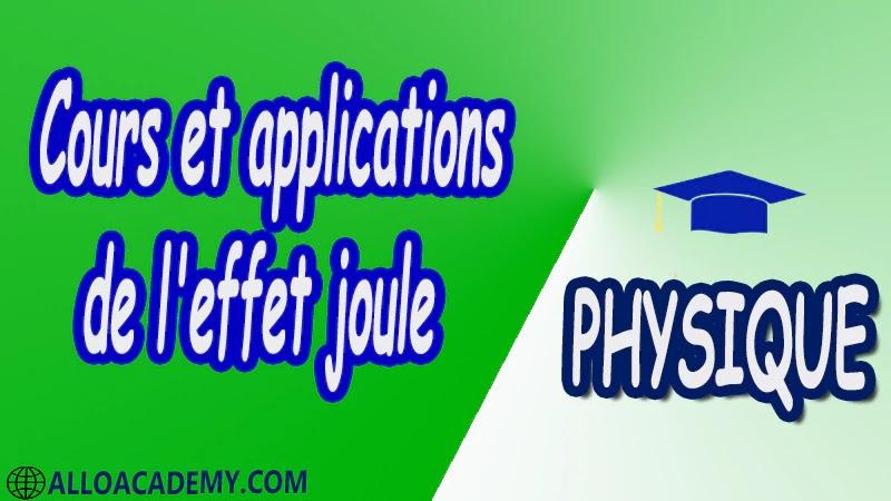 Cours et applications de l'effet joule pdf