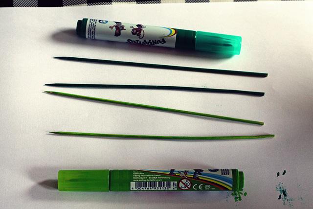 groene steeltjes bloemen knutselen