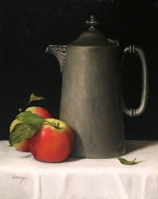 antique pewter, ripe apple, classical realism