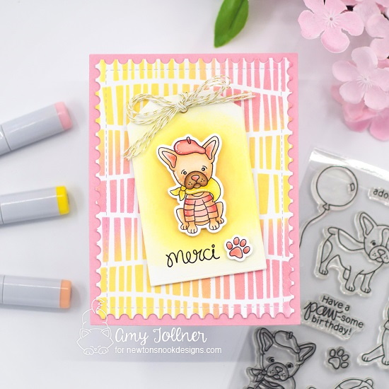 Merci by Amy features Fabulous Frenchies, Serene Stripes, Framework, and Fancy Edges Tag by Newton's Nook Designs; #inkypaws, #newtonsnook, #cardmaking, #puppycard