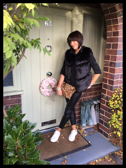 My Midlife Fashion, Leopard Print Clutch Zara, animal print, Bella Jane Jewellery, Mango white leather trainers, Faux fur gilet