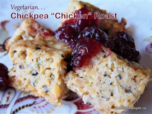 "Chickpea ""Chicken"" Roast served with cranberry sauce."