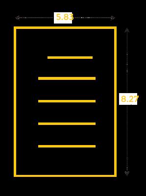 Ukuran kertas A5 dalam inc