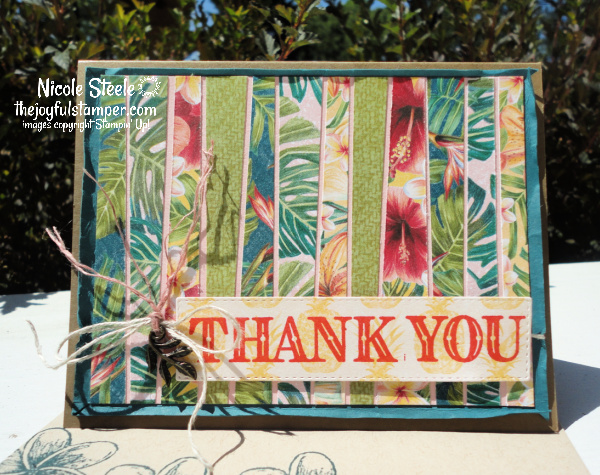 scrappy strip technique, thank you card, handmade card, stamping, stampin' up!, ornate thanks, using patterned paper, using paper scraps