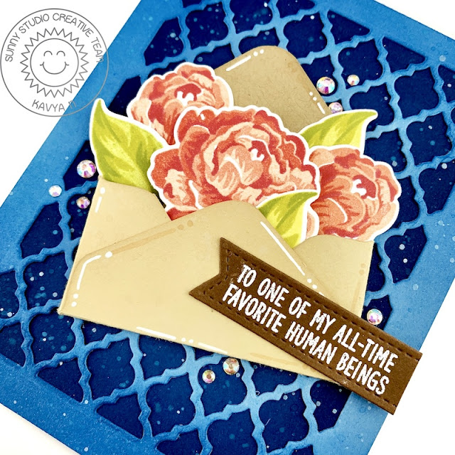 Sunny Studio Stamps: Captivating Camellias Frilly Frame Dies Inside Greetings Card by Kavya
