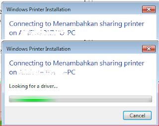 Proses penyelesaian dan penambahan printer dari sharing network