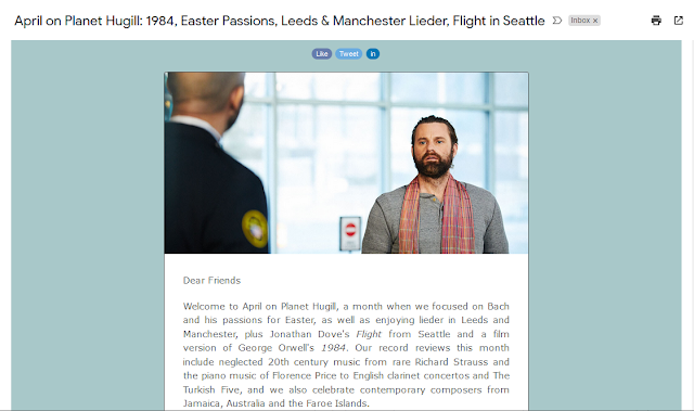 April on Planet Hugill: 1984, Easter Passions, Leeds & Manchester Lieder, Flight in Seattle