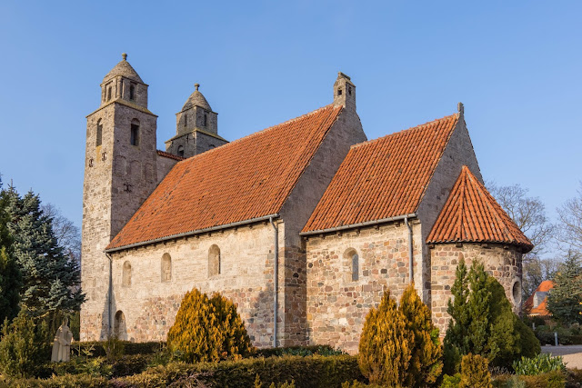 architecture, blue sky, brick, church, denmark, medieval, monument, stone, towers, tveje Melrose, https://www.shutterstock.com/image-photo/medieval-stone-church-twin-towers-tveje-564266638