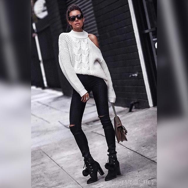 Εντυπωσιακό εκρού γυναικείο πουλόβερ  BONITA