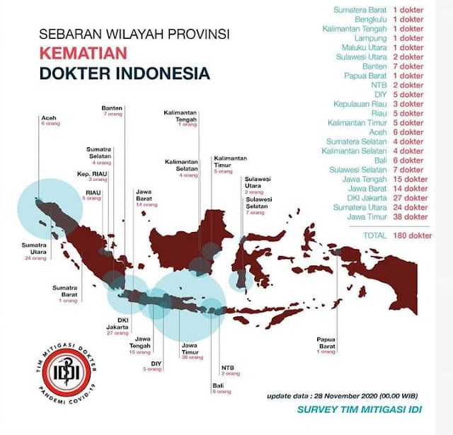 "Pandemic Covid-19 Update: ""Data Kematian Dokter Indonesia"" per 28 November 2020"