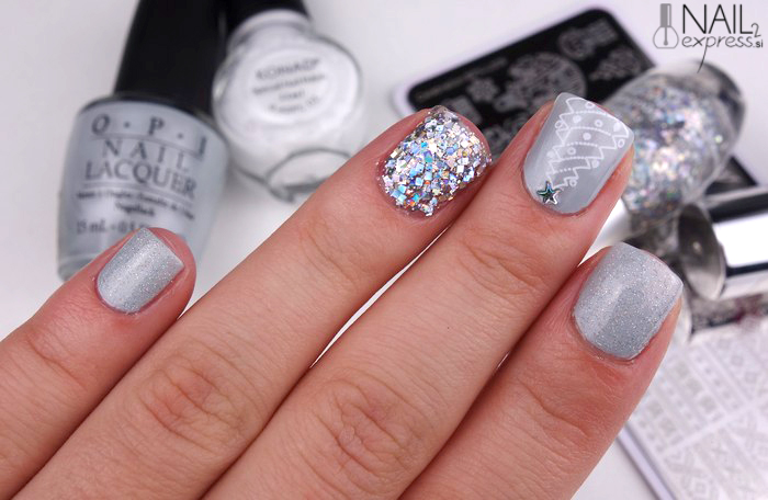 Sivo srebrna zimska manikira