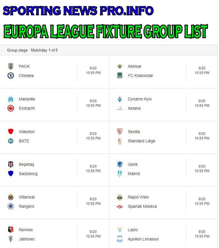UEFA Europa League FixturesTableGroup ListPerformance And More - Uefa champions league fixtures table