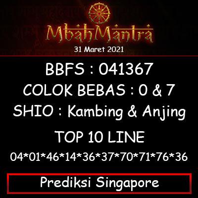 Prediksi Angka Singapore 30 Maret 2021