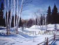 L'hiver en Abitibi, chemin bordé de bouleaux avec forêt en arrière-plan - par Clémence St-Laurent