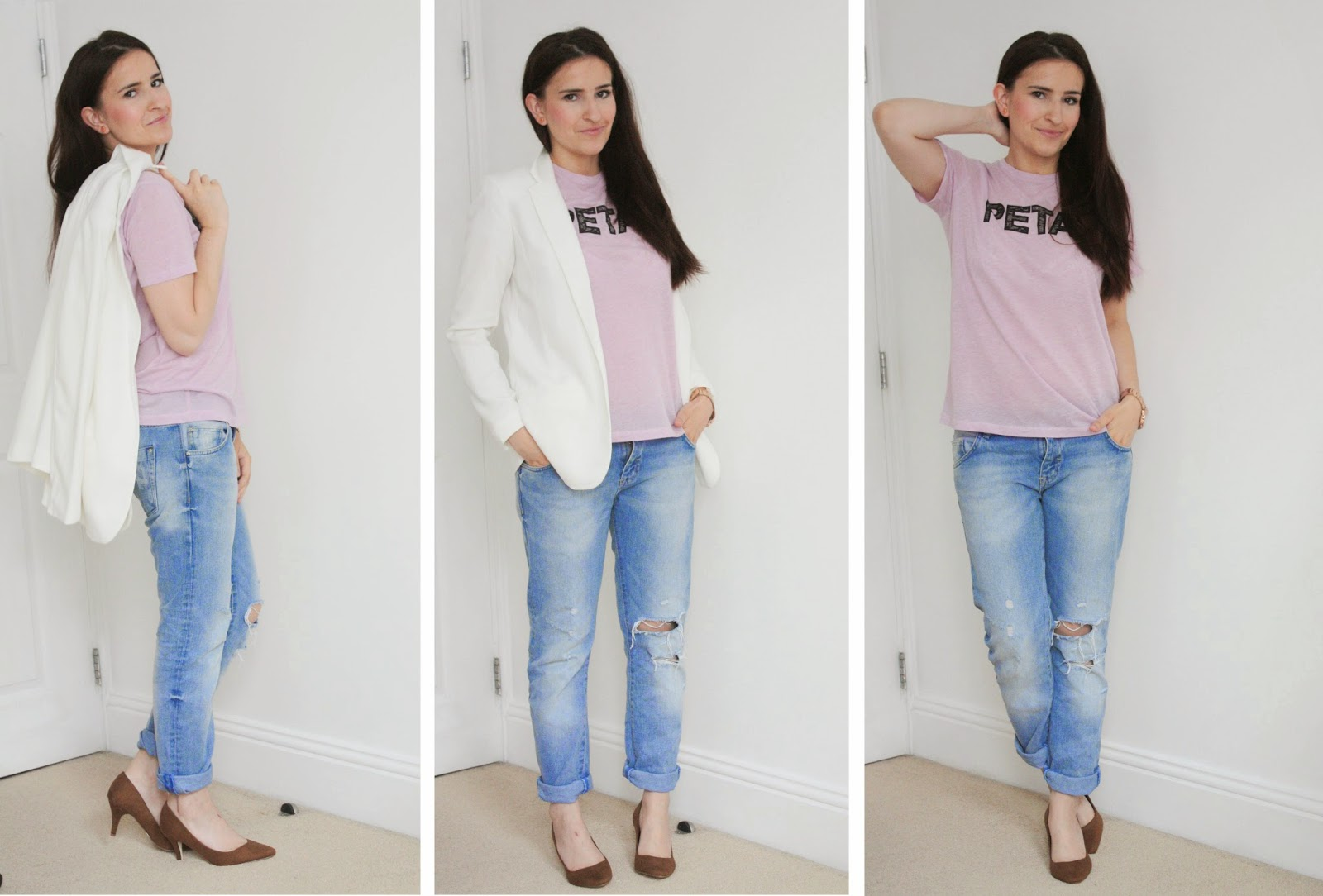 Boyfriends & petals casual chic boyfriend jeans white blazer outfit III