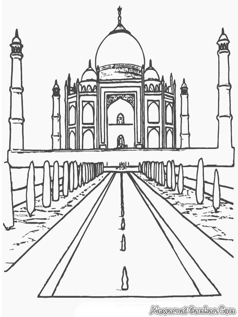 Galeri Sketsa Gambar Masjid Lomba Mewarnai