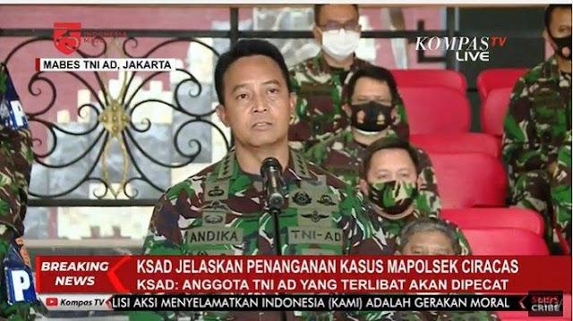 Andika Perkasa Pecat Anggota TNI Pelaku Penyerangan Polsek Ciracas