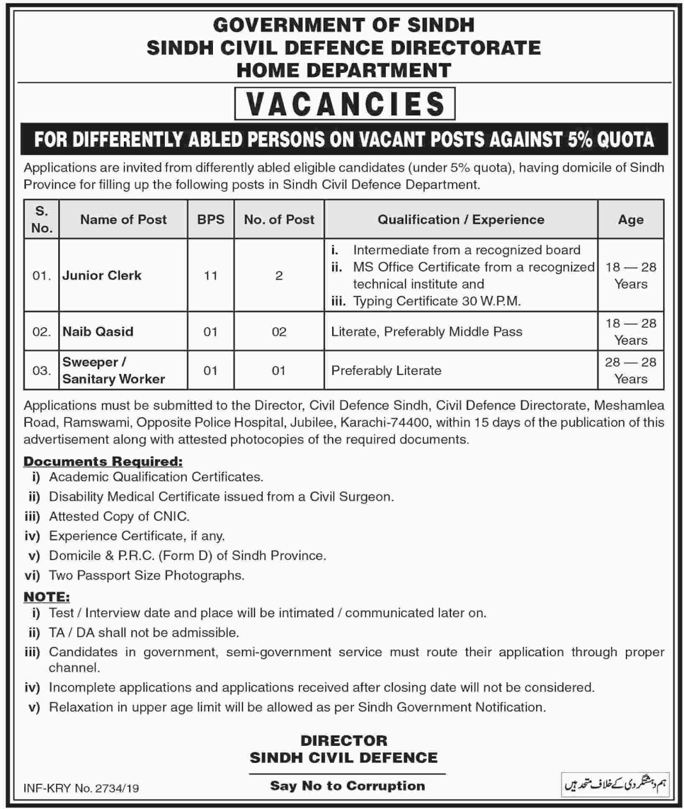 Latest Jobs in Home Department Govt of Sindh 25 May 2019