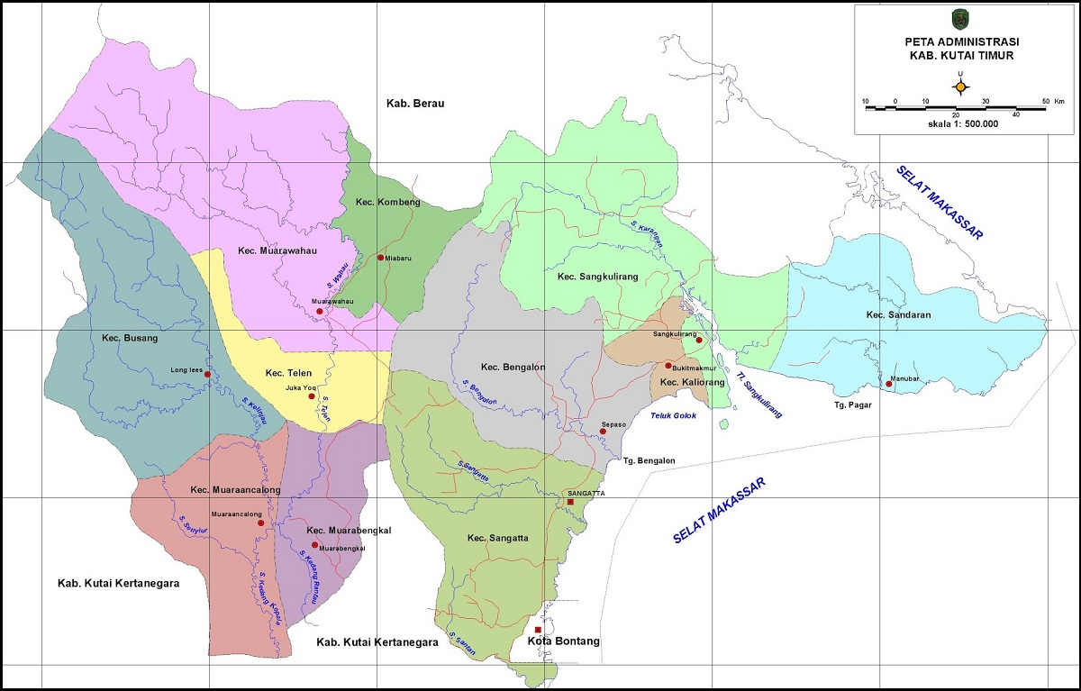 Peta Kabupaten Kutai Timur