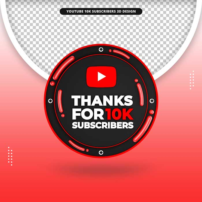 Thanks 10k Subscribers 3D Render Icon Youtube