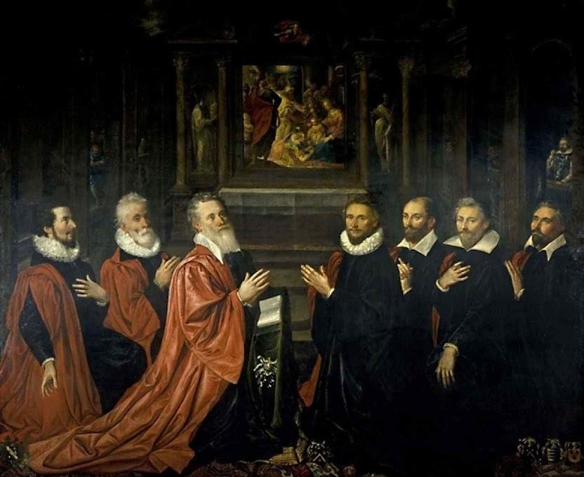 Autoridades da corporação dos comerciantes de Paris em 1611. O chefe desta corporação passou a ser prefeito da cidade