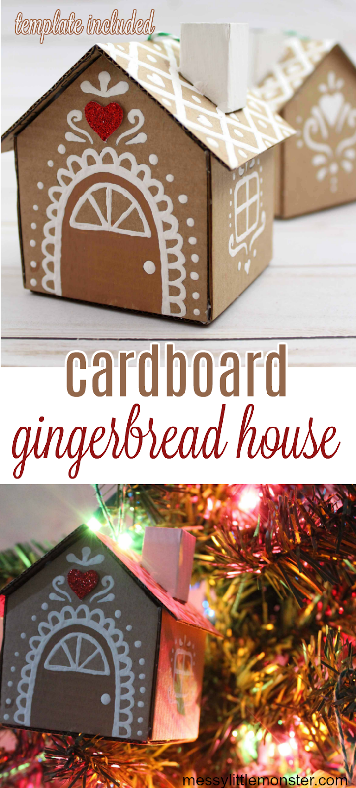 Cardboard ginger bread house ornament with gingerbread house template.