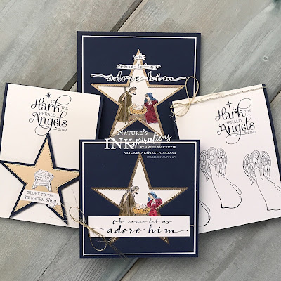 By Angie McKenzie for The Joy of Sets Blog Hop; Click READ or VISIT to go to my blog for details! Featuring the Peaceful Nativity and For Onto Us stamp sets to make multiple of Christmas cards; #handmadecards #naturesinkspirations #joyofsetsbloghop #christmascards #stampinup #peacefulnativitystampset #forontousstampset #peaceandlightstampset #stitchedstarsdies #cardtechniques #stampinupinks #makingotherssmileonecreationatatime