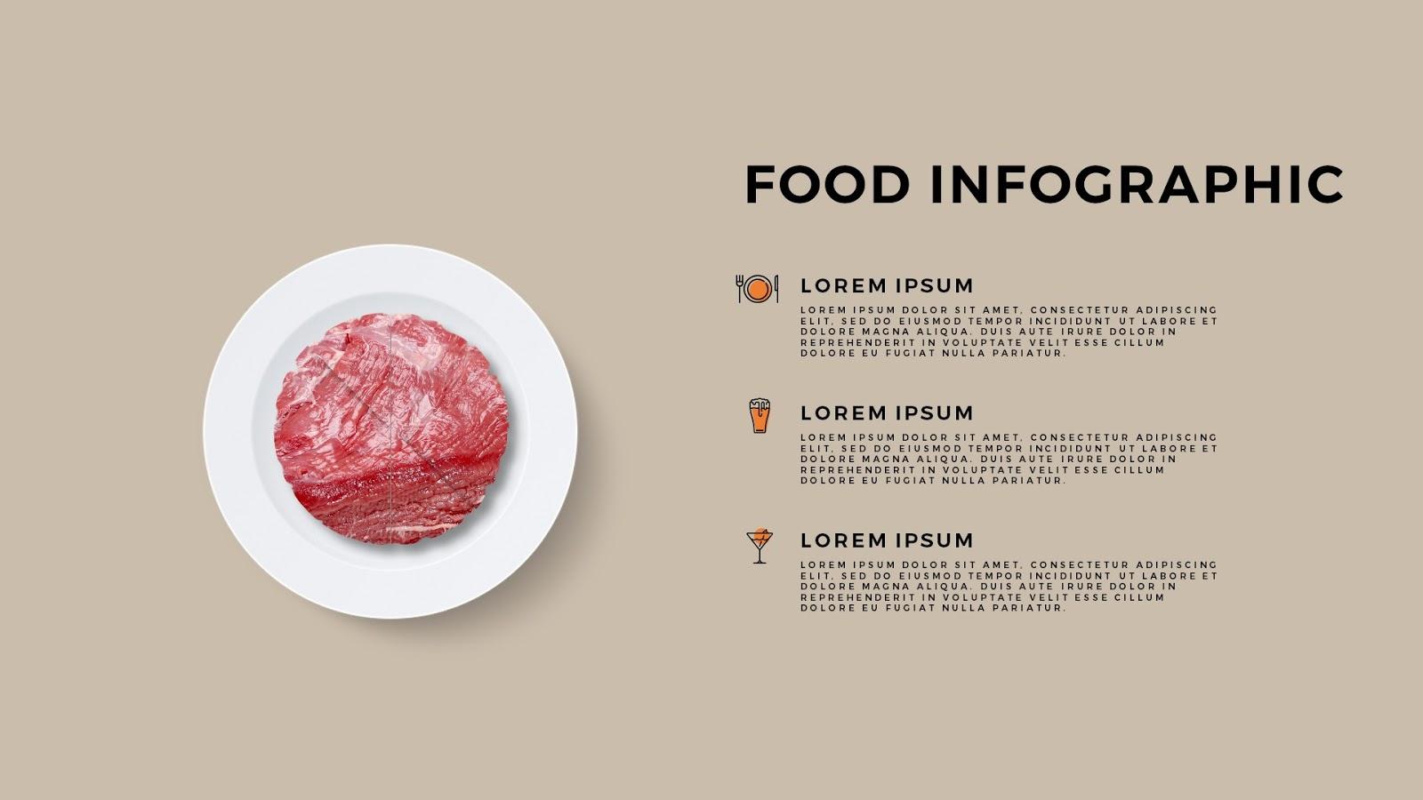 Food infographic presentation with beef for powerpoint infographicon food infographic elements of beef for powerpoint template with colored background toneelgroepblik Gallery