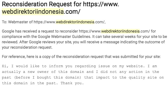 reconsideration request