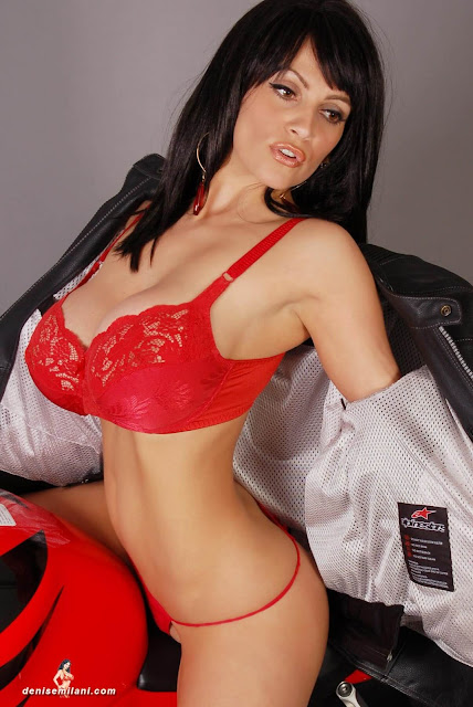 Denise-Milani-Bike-Photoshoot-in-red-hot-bikini-picture-4